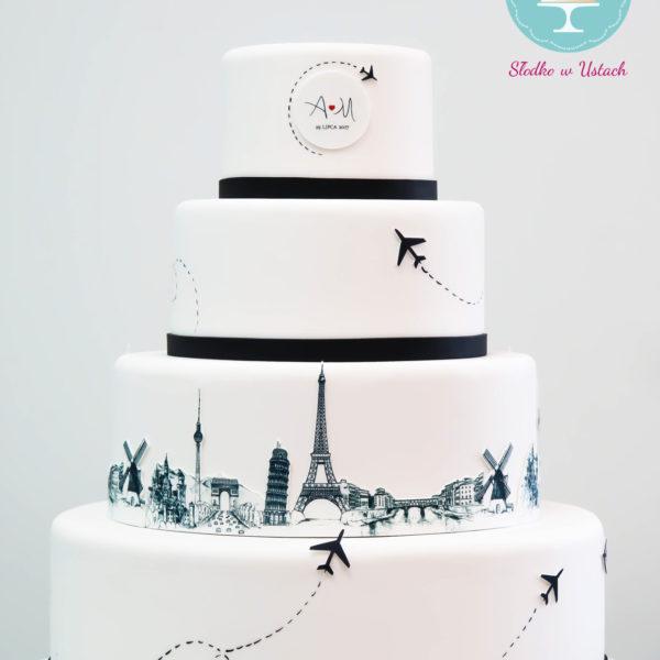 S5 - tort na ślub, wesele, ślubny, artystyczny, weselny, podróżniczy, piętrowy , cake, warszawa, z dostawą