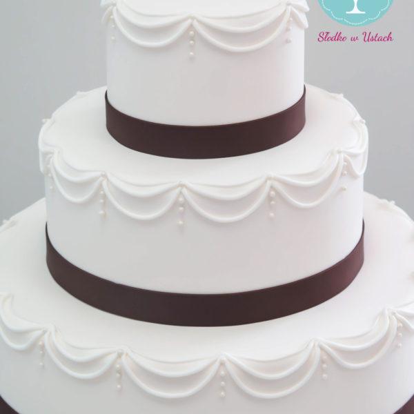 S50 - tort na ślub, wesele, ślubny, weselny, elegancki, piętrowy , cake, warszawa, z dostawą, ornament ,