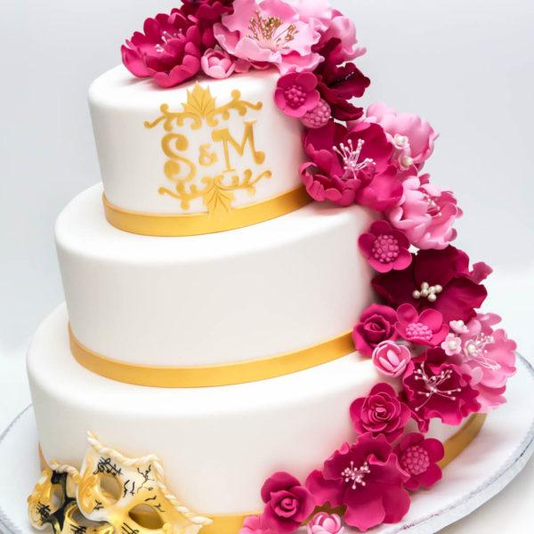 S52 - tort na ślub, wesele, ślubny, weselny, artystyczny, biel, róż, pasja, elegancki, piętrowy , z kwiatami, cake, warszawa, z dostawą,