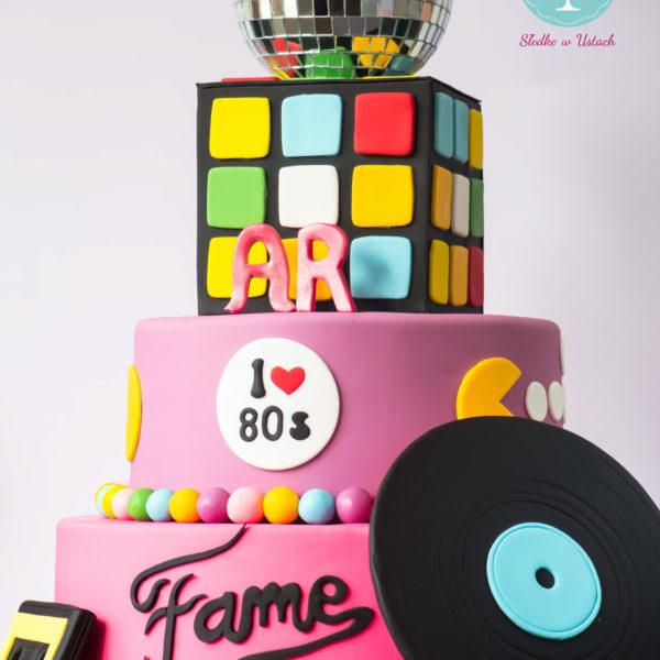 S53 - tort na ślub, wesele, ślubny, weselny, artystyczny, disco, multikolor, lata 80, kostka rubika, piętrowy , cake, warszawa, z dostawą, vinyl