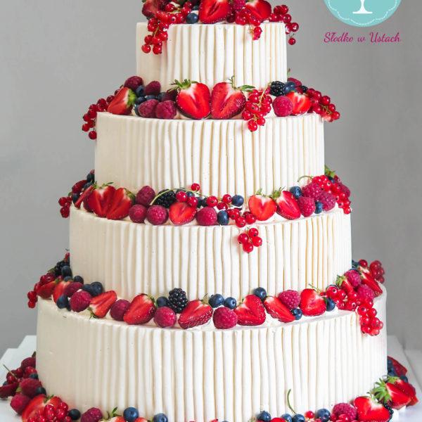 S54 - tort na ślub, wesele, ślubny, weselny, z owocami, piętrowy , cake, warszawa, z dostawą