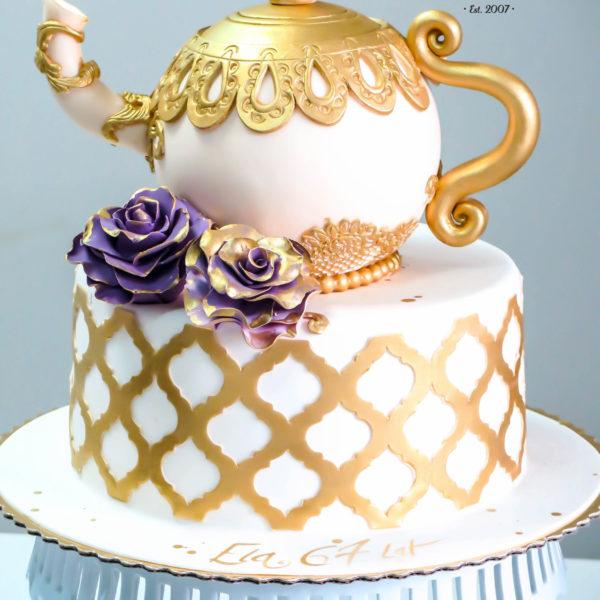 U13 - tort urodzinowy, na urodziny, imbryczek, złocony, ornament, z kwiatami, artystyczny, warszawa, z dostawą,