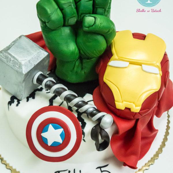 U14 - tort urodzinowy, na urodziny, dla dzieci, artystyczny, avengers, super bohaterowie, iron man, thor, hulk, kapitan ameryka, warszawa, z dostawą, marvel