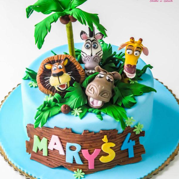 U17 - tort urodzinowy, na urodziny, dla dzieci, artystyczny, madagaskar, warszawa, z dostawą,