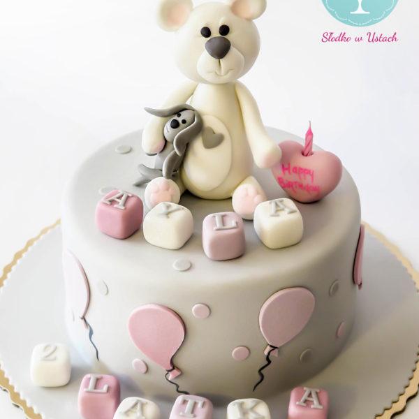 U18 - tort urodzinowy, na urodziny, dla dzieci, artystyczny, z misiem, warszawa, z dostawą,