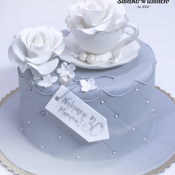 U20 - tort urodzinowy, na urodziny, filiżanka, pikowanie, z kwiatami, artystyczny, warszawa, z dostawą, prezent