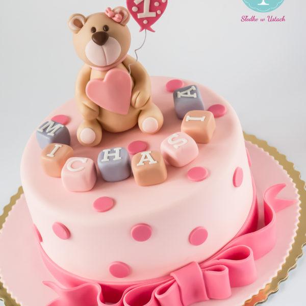 U22 - tort urodzinowy, na urodziny, dla dzieci, artystyczny, roczek, pierwsze urodziny, z misiem, warszawa, z dostawą,