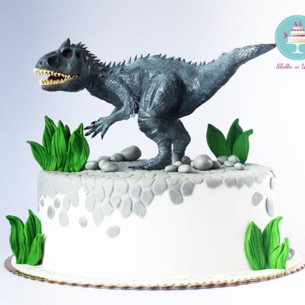 U27 - tort urodzinowy, na urodziny, dla dzieci, artystyczny, dinozaur, indominus rex, warszawa, z dostawą,