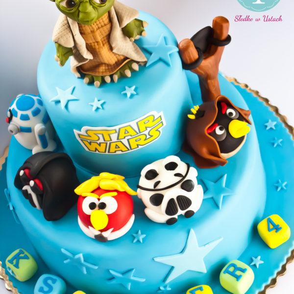 U30 - tort urodzinowy, na urodziny, dla dzieci, artystyczny, star wars, gwiezdne wojny, yoda, angry birds,