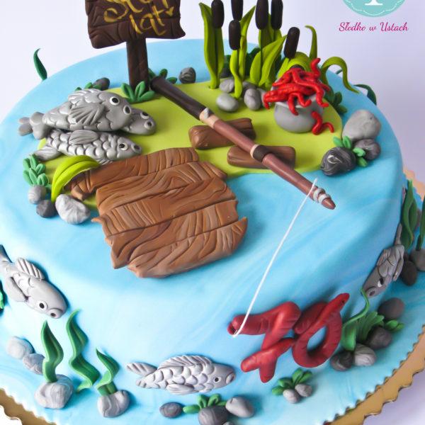 U37 - tort urodzinowy, na urodziny, wędkarstwo, ryby, artystyczny, warszawa, z dostawą,