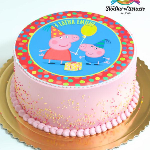 U39 - tort urodzinowy, na urodziny, dla dzieci, artystyczny, świnka peppa, warszawa