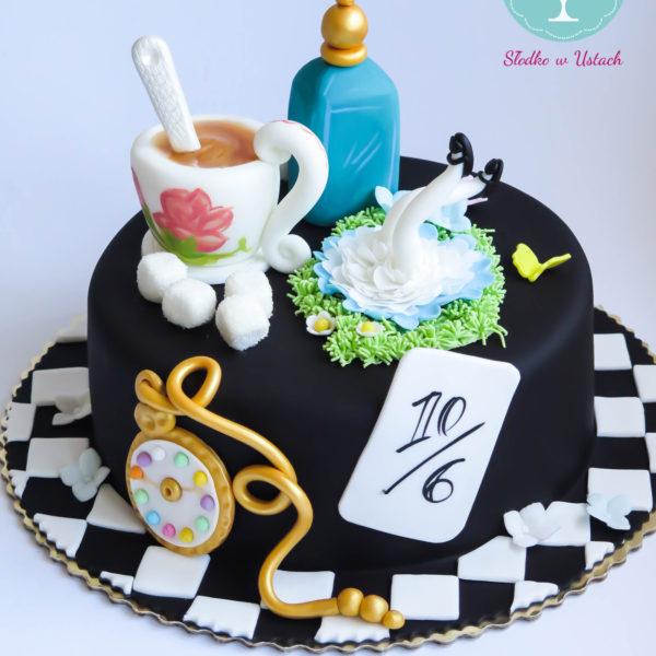 U43 - tort urodzinowy, na urodziny, dla dzieci, artystyczny, alicja w krainie czarów, warszawa, z dostawą,