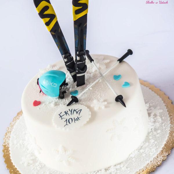 U46 - tort urodzinowy, na urodziny, dla dzieci, artystyczny, narty, zima, warszawa