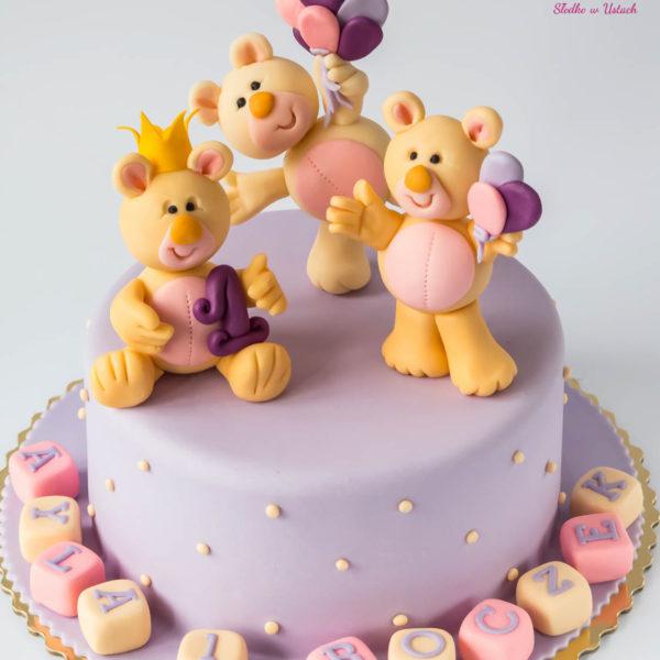 U50 - tort urodzinowy, na urodziny, dla dzieci, artystyczny, roczek, pierwsze urodziny, misie, warszawa, z dostawą,