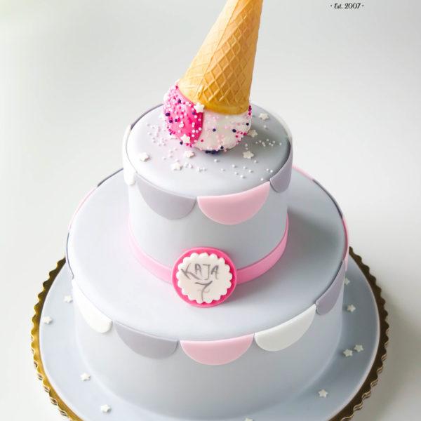 U51 - tort urodzinowy, na urodziny, dla dzieci, artystyczny, rożek, warszawa