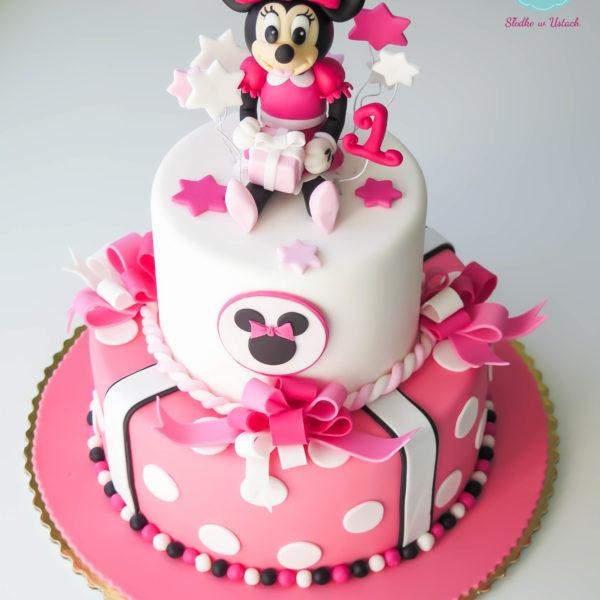 U53 - tort urodzinowy, na urodziny, dla dzieci, artystyczny, roczek, pierwsze urodziny, myszka minnie, warszawa, z dostawą,