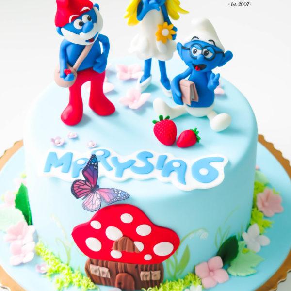 U54 - tort urodzinowy, na urodziny, dla dzieci, artystyczny, smerfy, warszawa