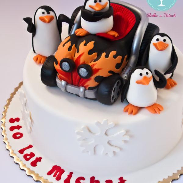 U58 - tort urodzinowy, na urodziny, dla dzieci, artystyczny, pingwiny z madagaskaru, warszawa