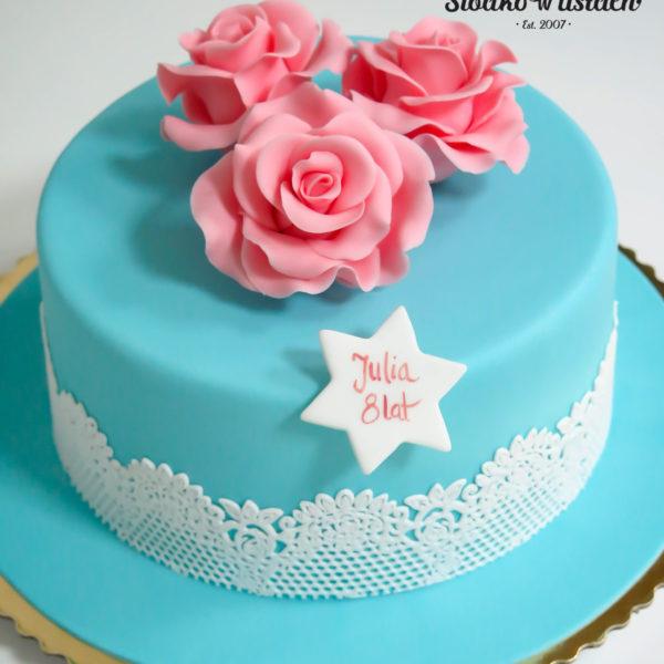 U6 - tort urodzinowy, na urodziny, artystyczny, róże, z kwiatami, koronka