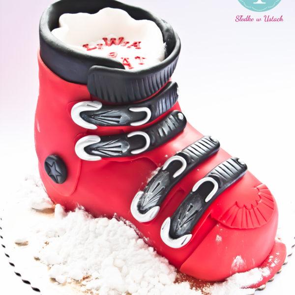 U77 - tort urodzinowy, na urodziny, dla dzieci, artystyczny, narty, zima, but narciarski, warszawa