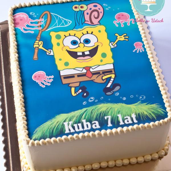 U81 - tort urodzinowy, na urodziny, dla dzieci, klasyczny, sponge bob, kanciastoporty, warszawa,