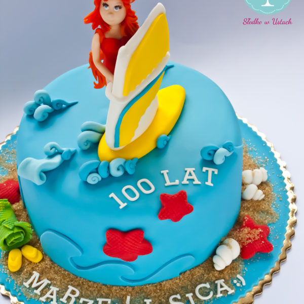 U84 - tort urodzinowy, na urodziny, artystyczny, hobby, pasja , deska, surfing, morze, warszawa