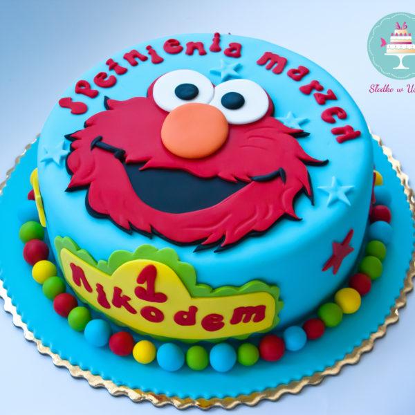 U86 - tort urodzinowy, na urodziny, dla dzieci, elmo, ulica sezamkowa, artystyczny, warszawa, z dostawą,