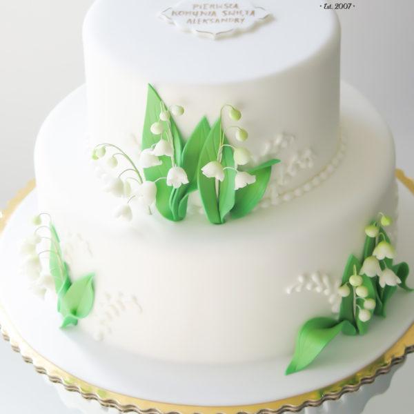 KCH39 - tort na komunie, dla dzieci, artystyczny, komunijny, warszawa, konwalie