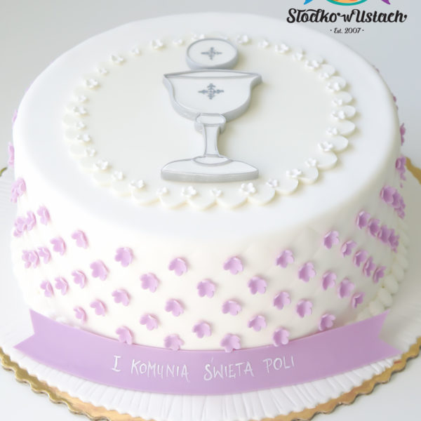 KCH43 - tort na komunie, dla dziewczynki, artystyczny, komunijny,