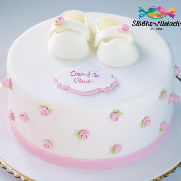 KCH46 - tort na chrzciny, chrzest, dla dziewczynki, buciki, biały,