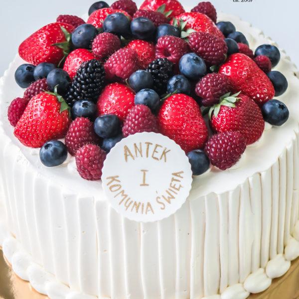 KCH47- tort na komunię, komunijny ,chrzciny ,chrzest, z owocami, słodko w ustach