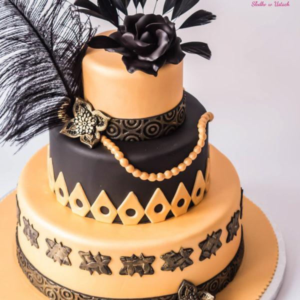 U101 - tort urodzinowy, na urodziny, great gatsby, wielki gatsby, artystyczny, warszawa, z dostawą,