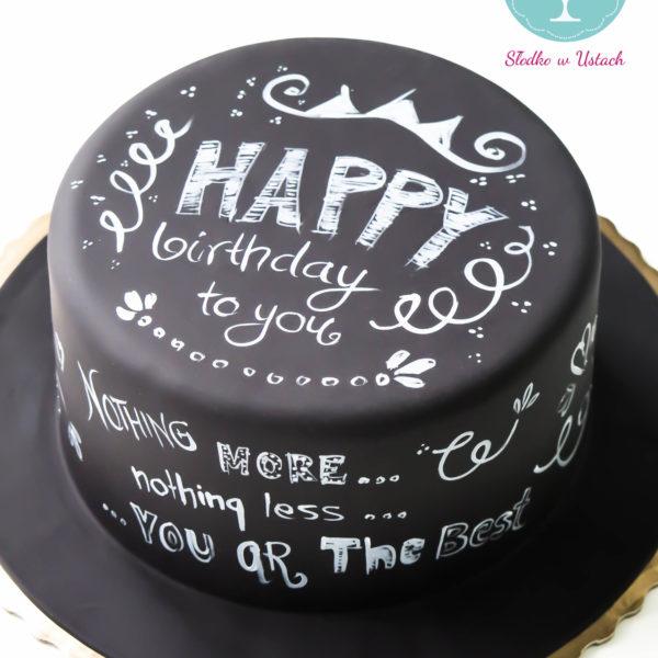 U103 - tort urodzinowy, na urodziny, artystyczny, dla faceta, tablicowy, blackboard cake, warszawa