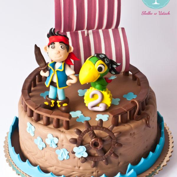 U104 - tort urodzinowy, na urodziny, statek piracki, kapitan jake i piraci z nibylandii, artystyczny, warszawa, z dostawą,