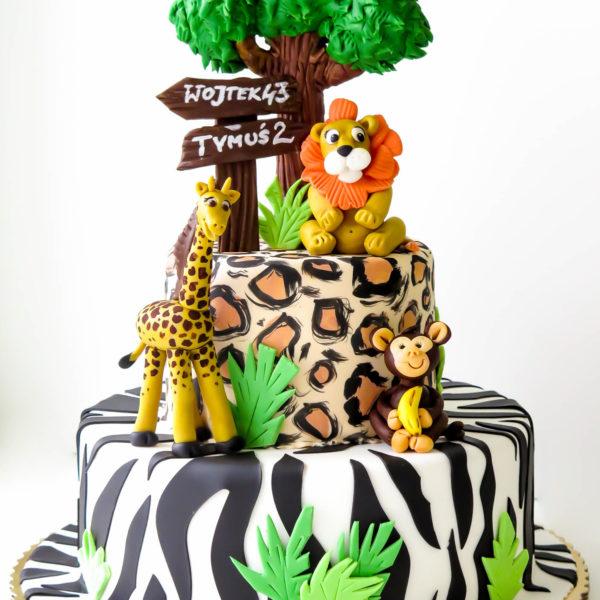 U105 - tort urodzinowy, na urodziny, dla dzieci, artystyczny, zwierzątka , safari, warszawa, z dostawą,