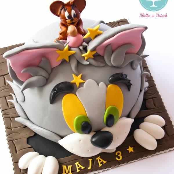 U106 - tort urodzinowy, na urodziny, dla dzieci, artystyczny, tom i jerry, warszawa, z dostawą, konstancin jeziorna