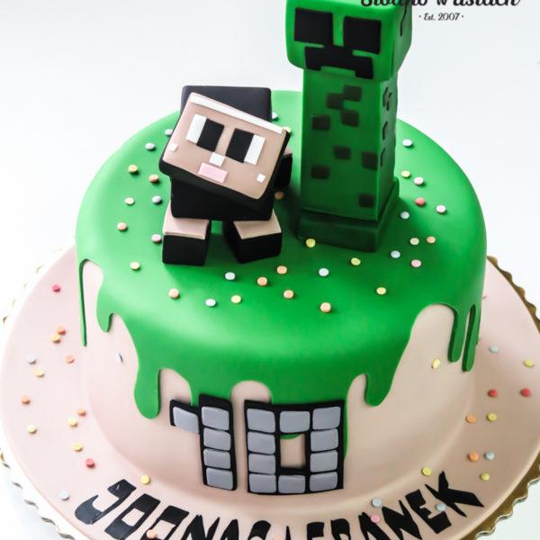 U111 - tort urodzinowy, na urodziny, dla dzieci, artystyczny, minecraft, warszawa