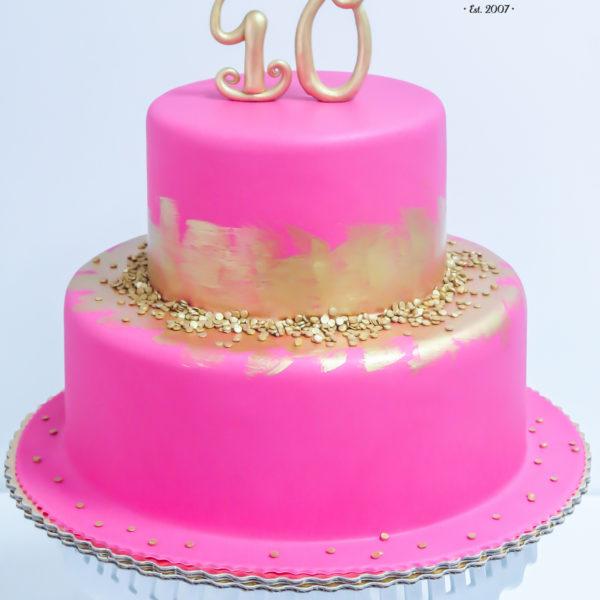 U117 - tort urodzinowy, na urodziny, 40, czterdziestka, różowy, złocony, artystyczny, warszawa,