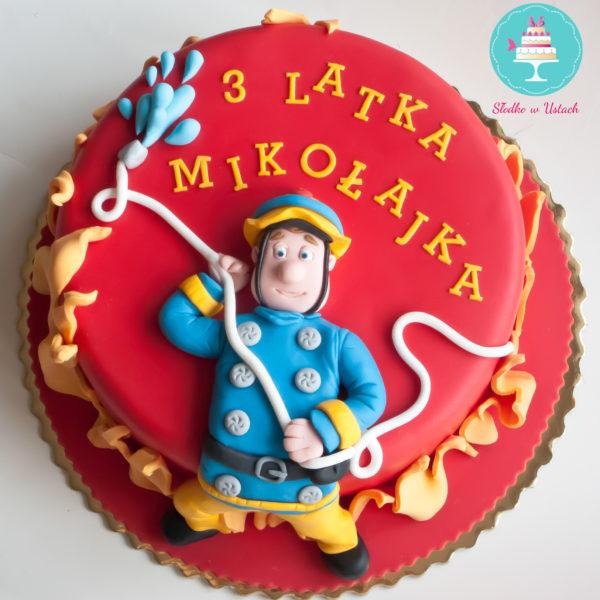 U119 - tort urodzinowy, na urodziny, dla dzieci, artystyczny, strażak sam, warszawa