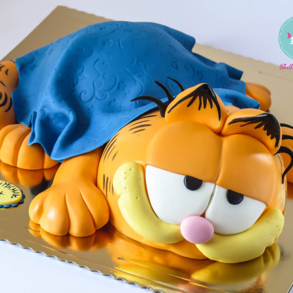 U121 - tort urodzinowy, na urodziny, dla dzieci, artystyczny, kot, garfield, warszawa, z dostawą,