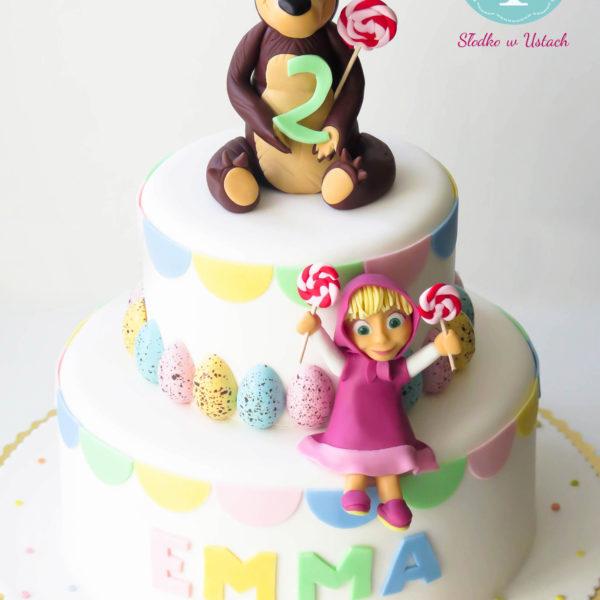 U128 - tort urodzinowy, na urodziny, dla dzieci, artystyczny, masza, i niedźwiedź, warszawa