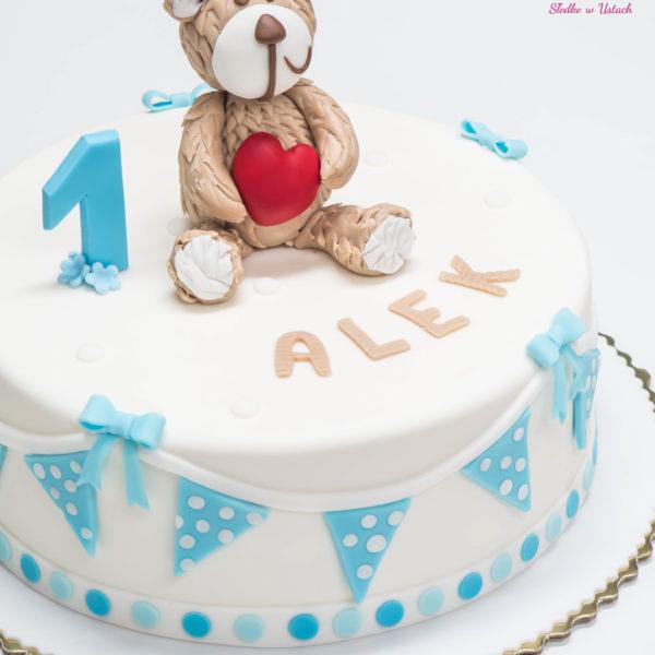 U129 - tort urodzinowy, na urodziny, dla dzieci, artystyczny, roczek, pierwsze urodziny, z misiem, warszawa, z dostawą,