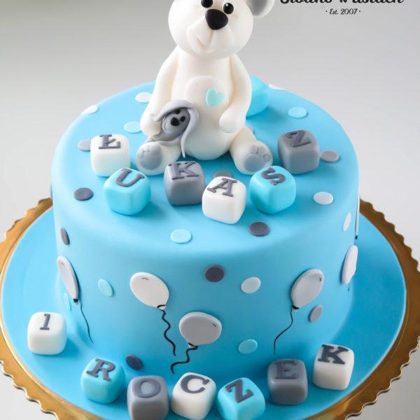 U132 - tort urodzinowy, na urodziny, dla dzieci, artystyczny, roczek, pierwsze urodziny, z misiem, warszawa, z dostawą,