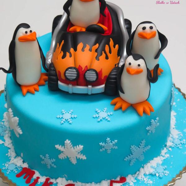 U133 - tort urodzinowy, na urodziny, dla dzieci, artystyczny, pingwiny z madagaskaru, warszawa