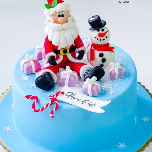 U134 - tort urodzinowy, na urodziny, dla dzieci, artystyczny, mikołaj, bałwanek, warszawa