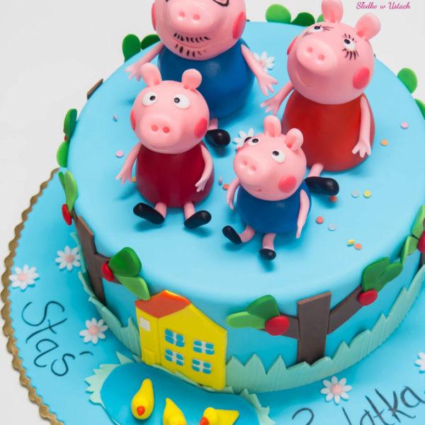 U135 - tort urodzinowy, na urodziny, dla dzieci, artystyczny, świnka peppa, warszawa