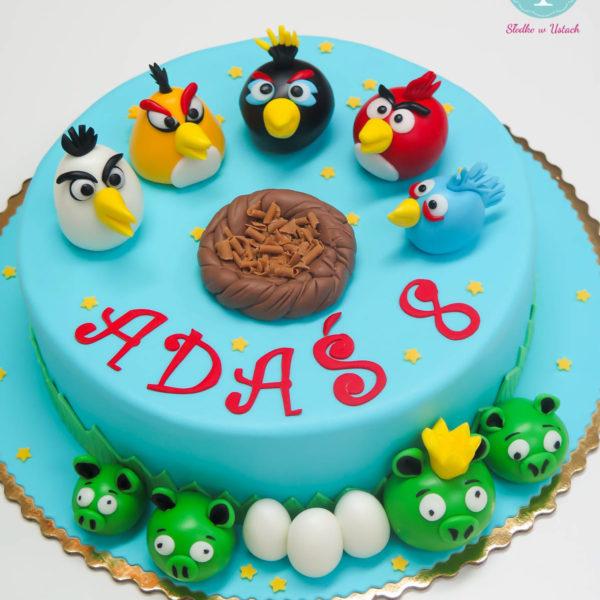 U136 - tort urodzinowy, na urodziny, dla dzieci, artystyczny, angry birds, warszawa