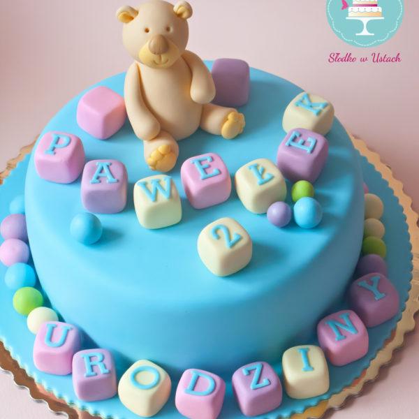 U139 - tort urodzinowy, na urodziny, dla dzieci, artystyczny, z misiem, warszawa, z dostawą,