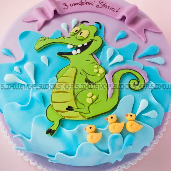 U140 - tort urodzinowy, na urodziny, dla dzieci, artystyczny, krokodyl, where's my water, warszawa