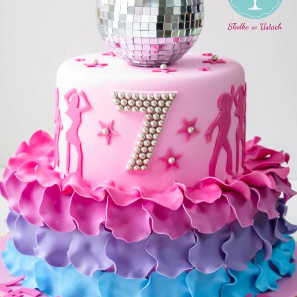 U144 - tort urodzinowy, na urodziny, dla dzieci, artystyczny, disco, kula, taniec, warszawa